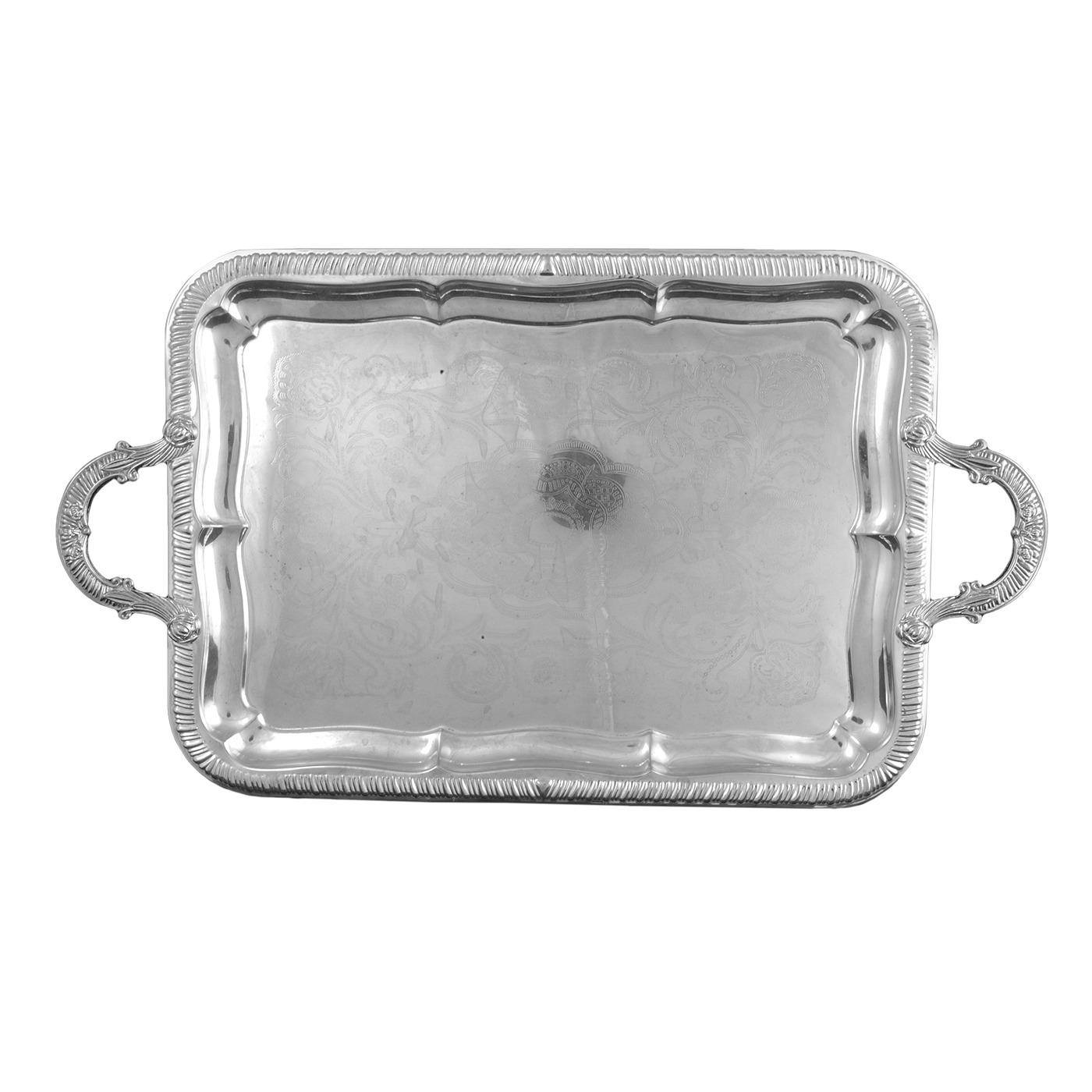 "Silver Oblong Tray With Handles - 13"" x 18"""