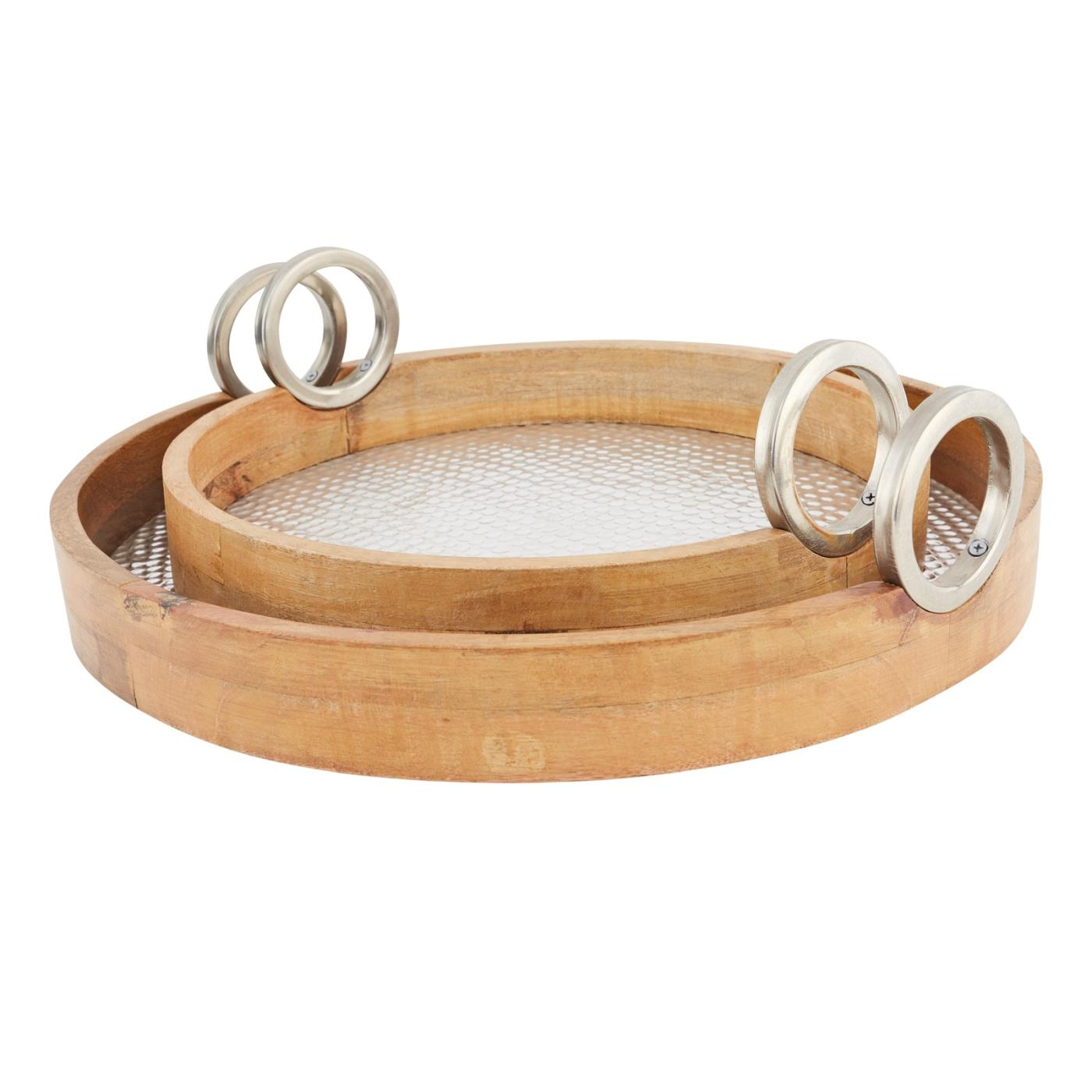 Embossed Round Wood Tray