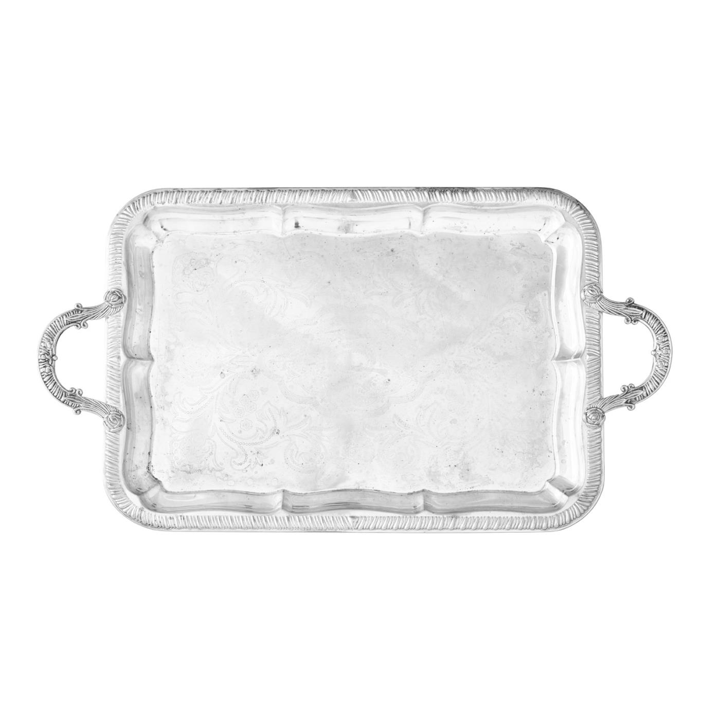 Silver Oblong Tray With Handles