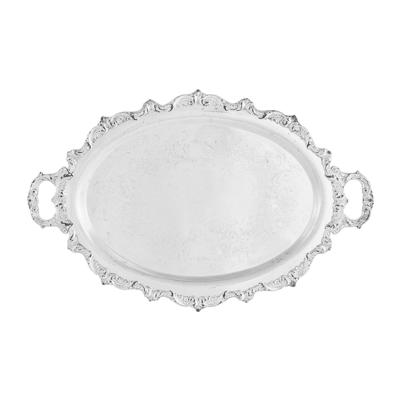 """Silver Oval Tray With Handles - 16"""" x 22"""""""