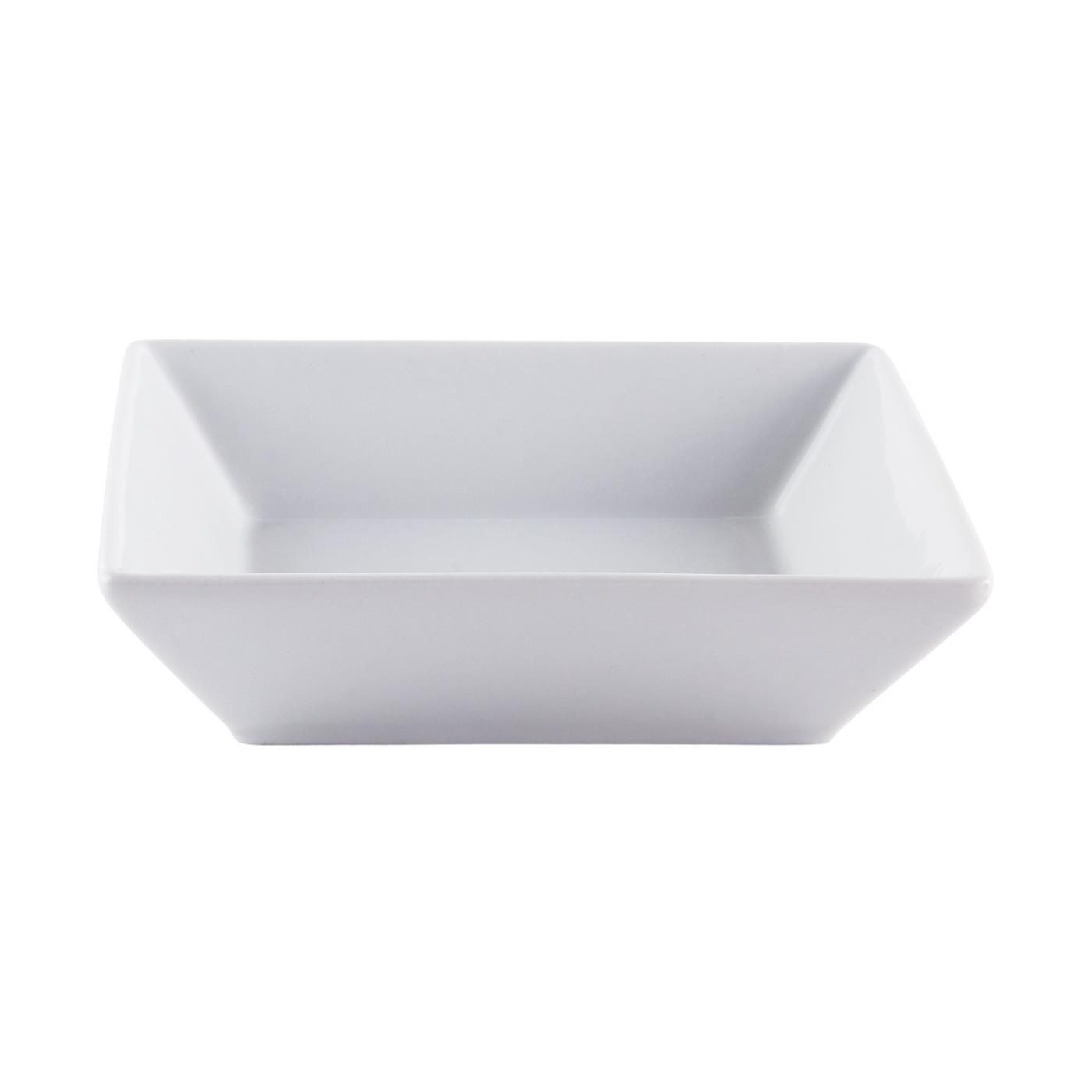 "White Ceramic Square Bowl - 6"" Shallow"