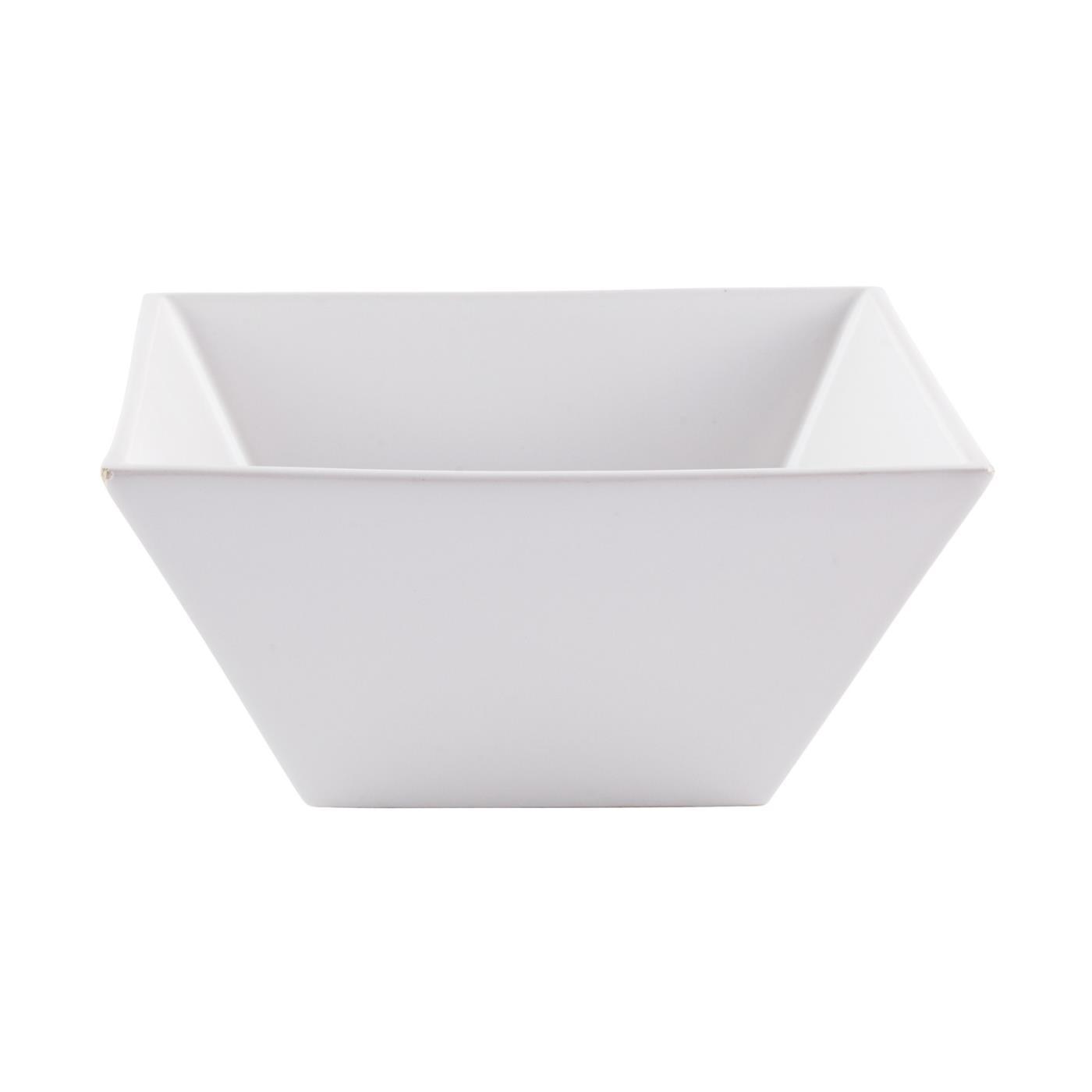 "White Ceramic Square Bowl - 7"""