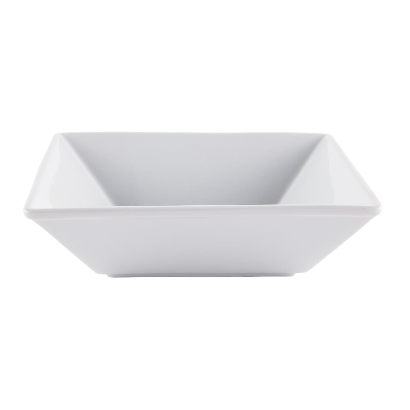 "White Ceramic Square Bowl - 10"""
