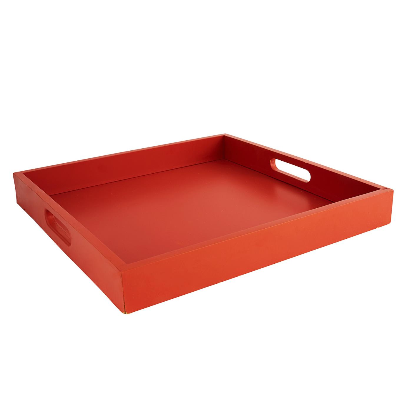 Red Wood Square Tray