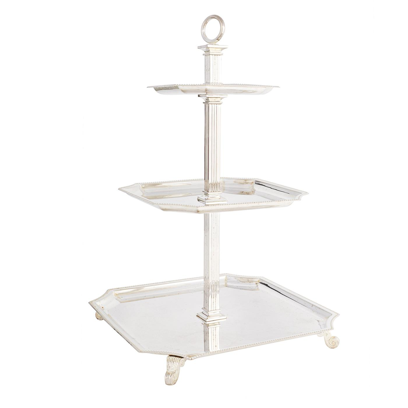Silver Beaded 3-Tier Stand - Square Plates