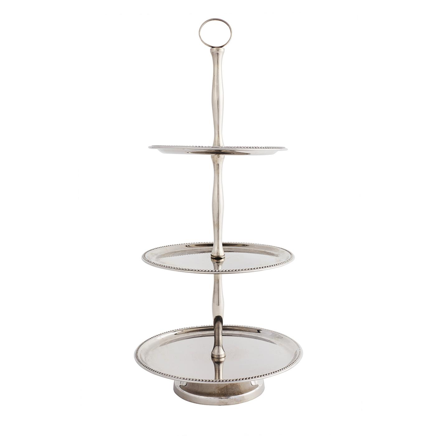 Silver Beaded 3-Tier Stand - Round Plates