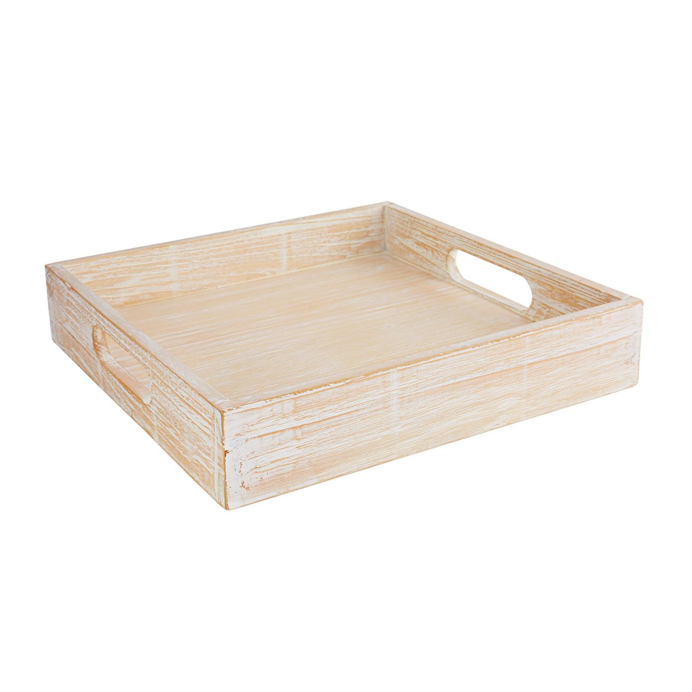 White Washed Wood Square Tray 12