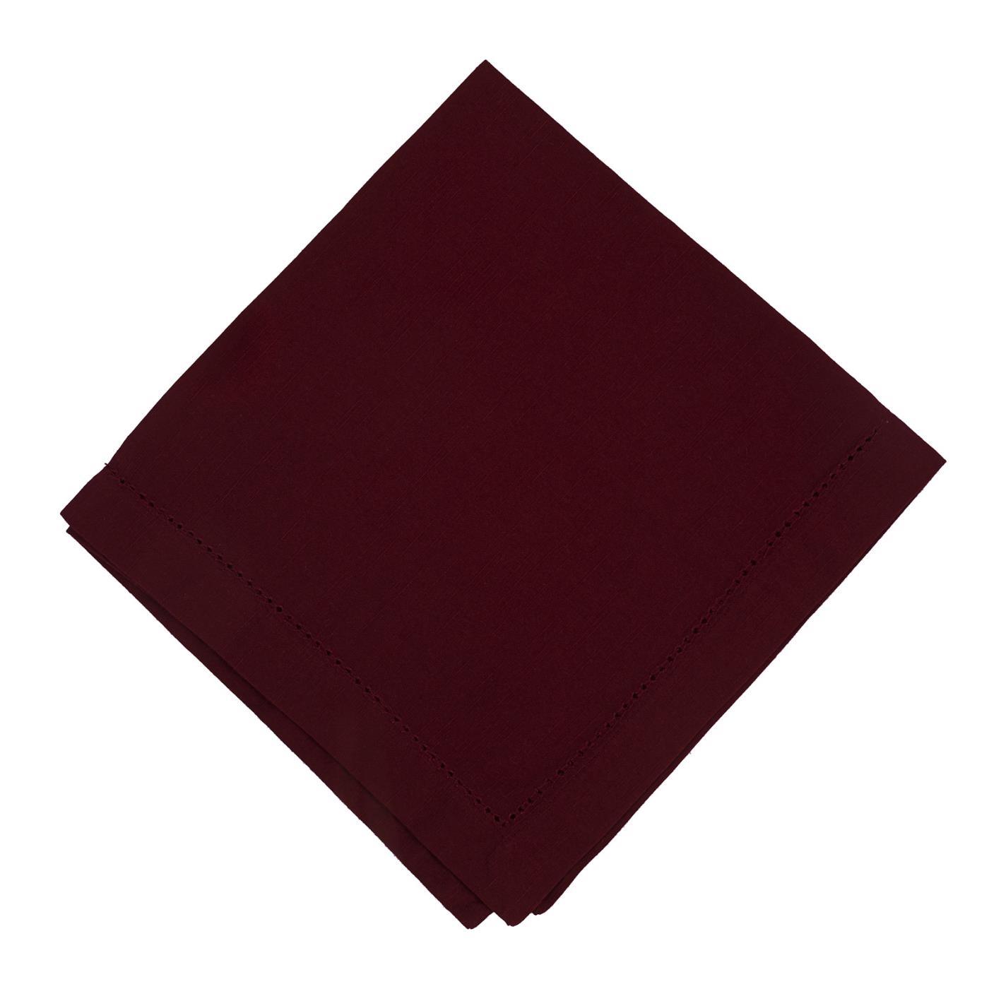 Burgundy - Linen - Hemstitched