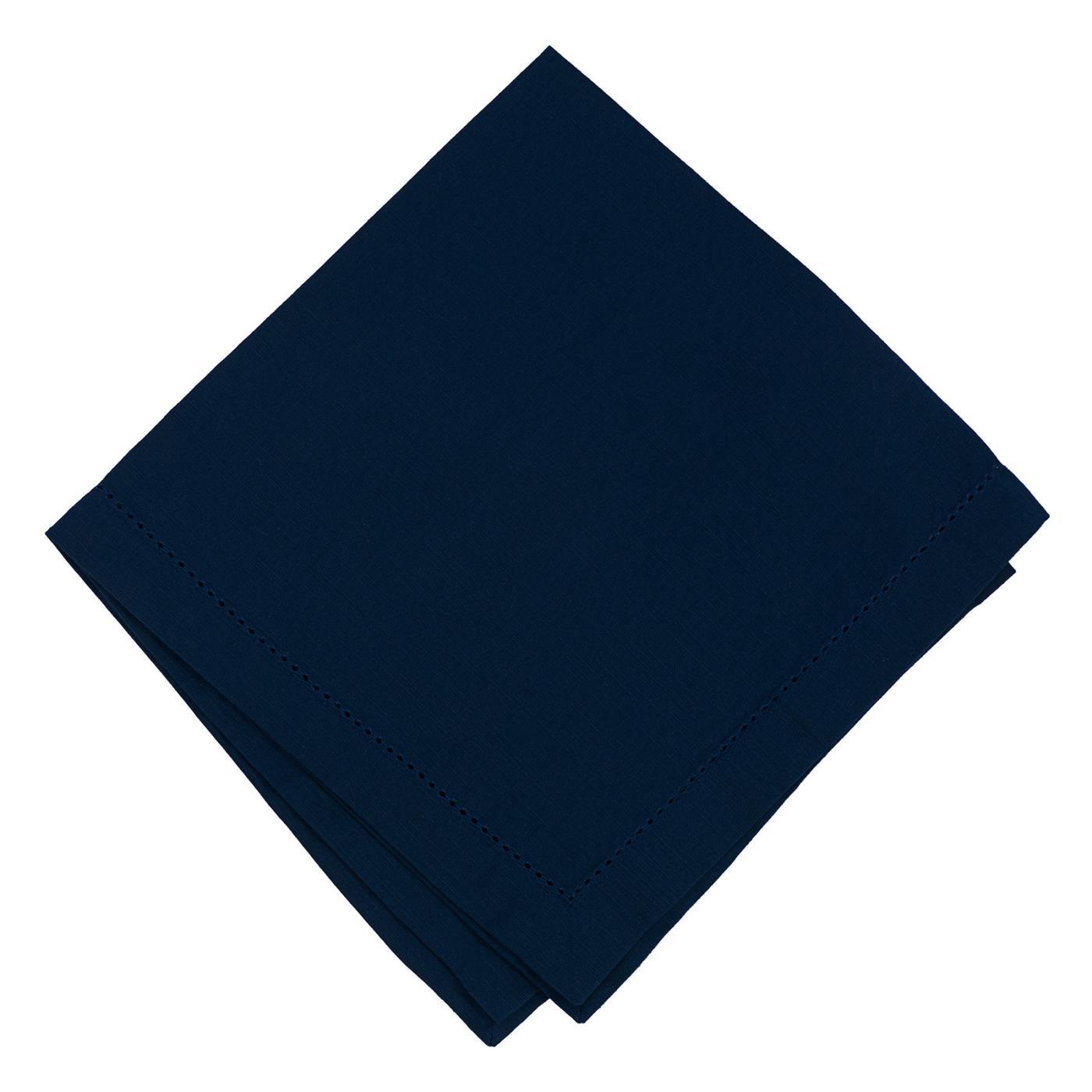 Navy - Linen - Hemstitched