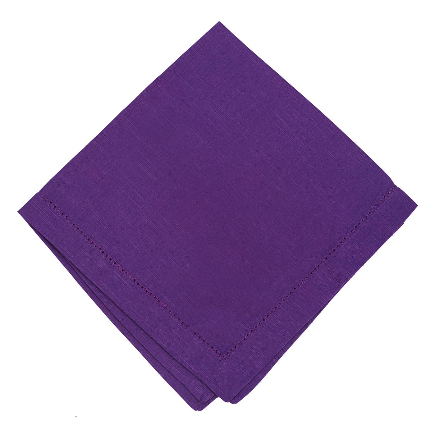 Purple - Linen - Hemstitched