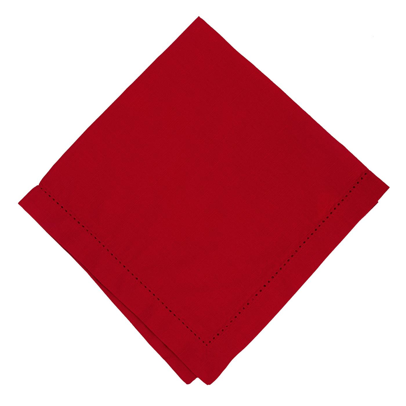 Red - Linen - Hemstitched