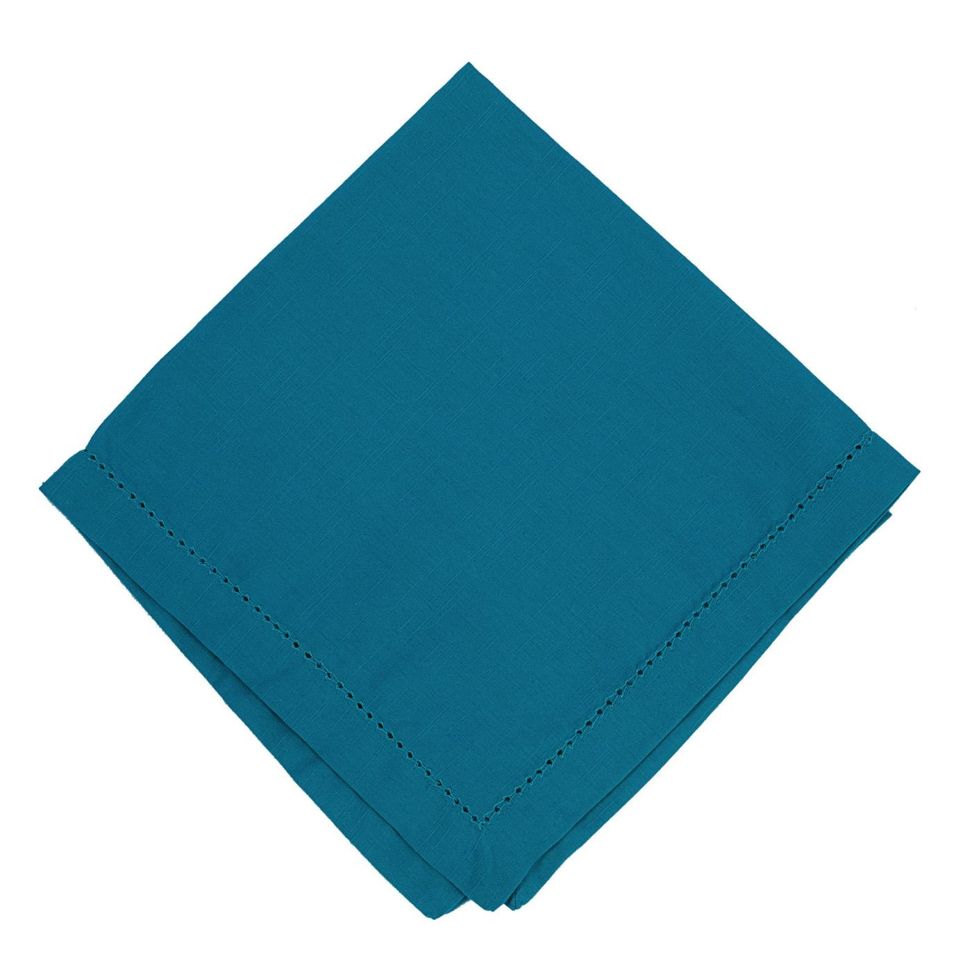 Turquoise - Linen - Hemstitched