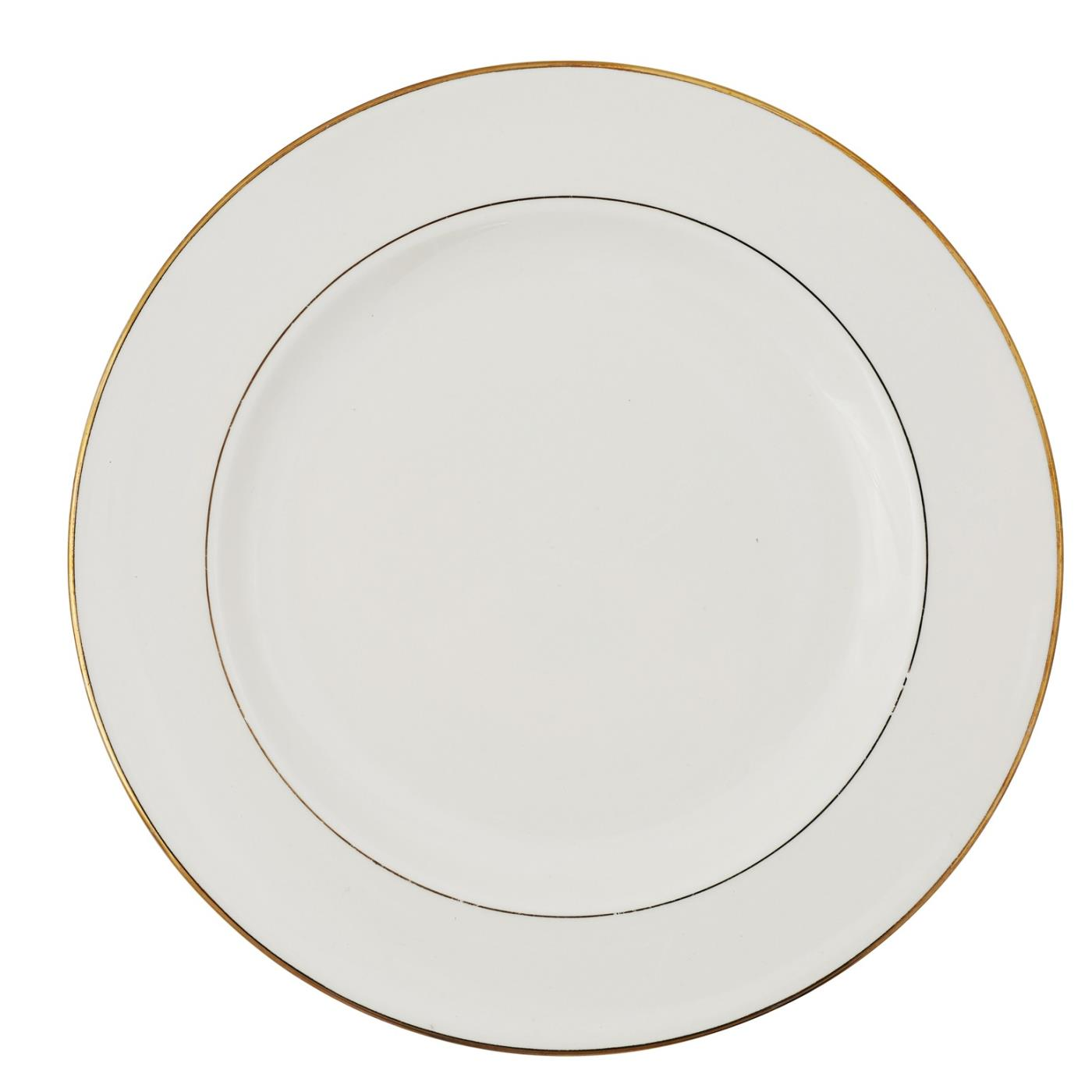 Ecru with Gold Rim Collection -  Dinner Plate 10""