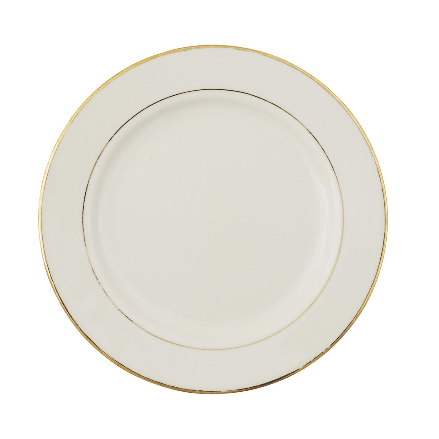 Ecru with Gold Rim Collection -  Lunch Plate 9""