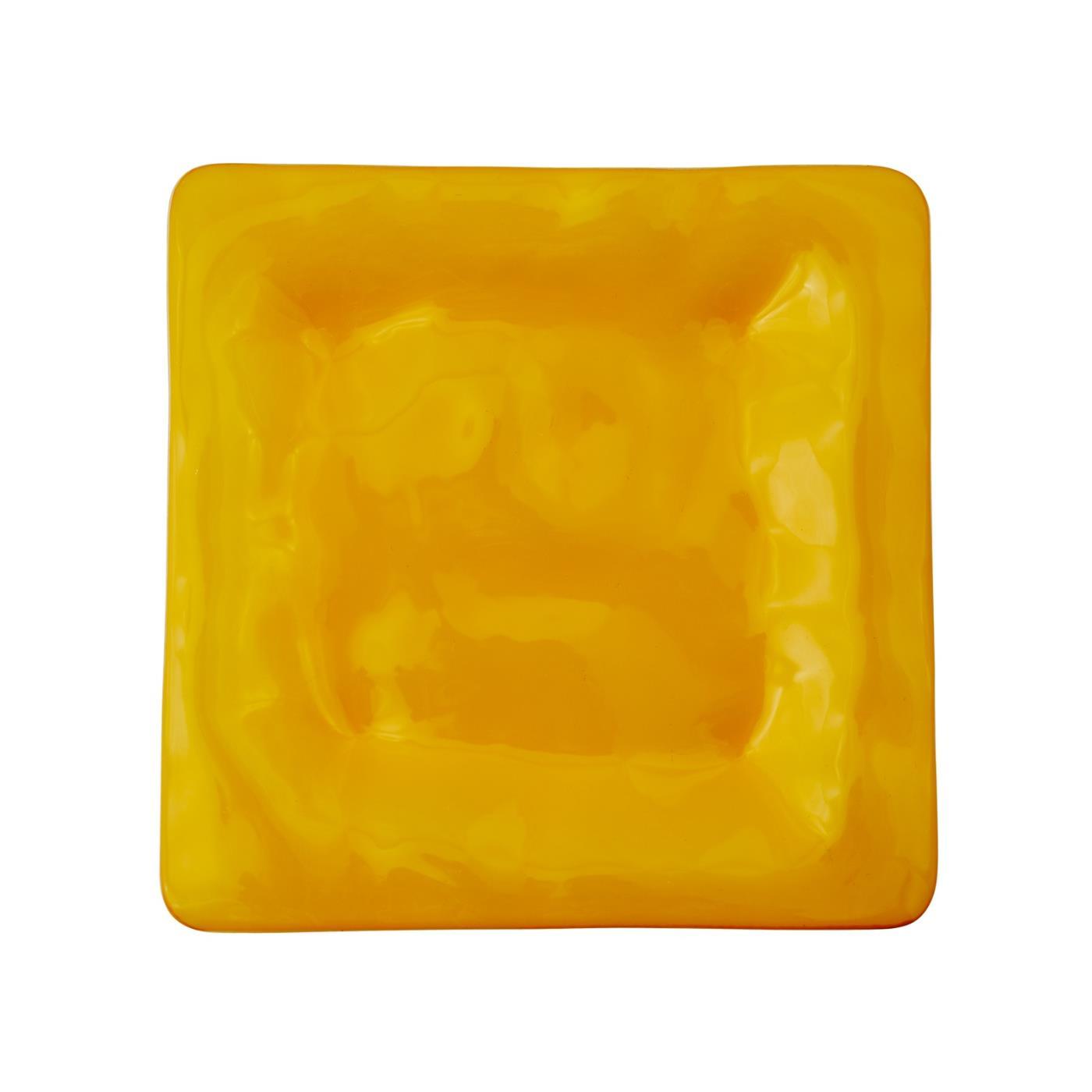 "Isla Glass Square Plate 8.5"" - Citrine"