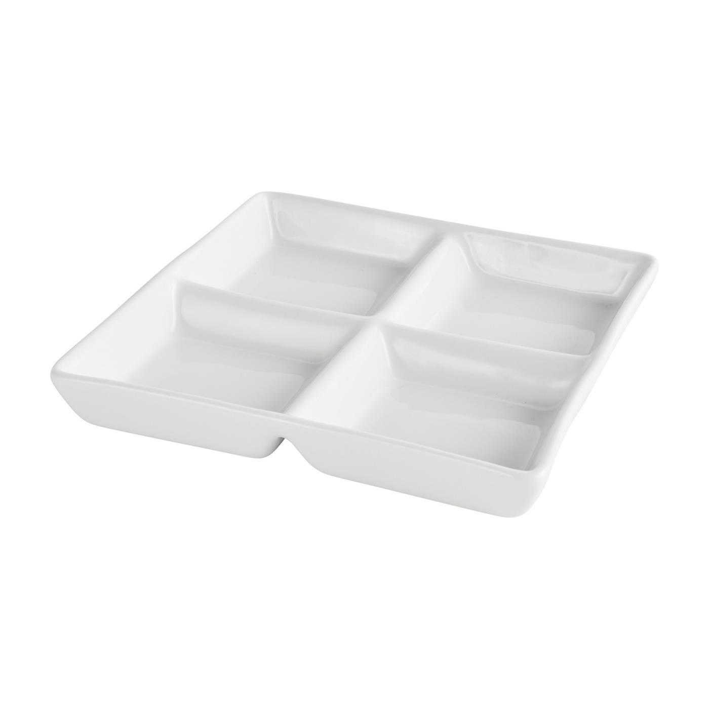 "Ceramic Square 4 Compartment Tasting Dish - 10"" With 4 Compartments"