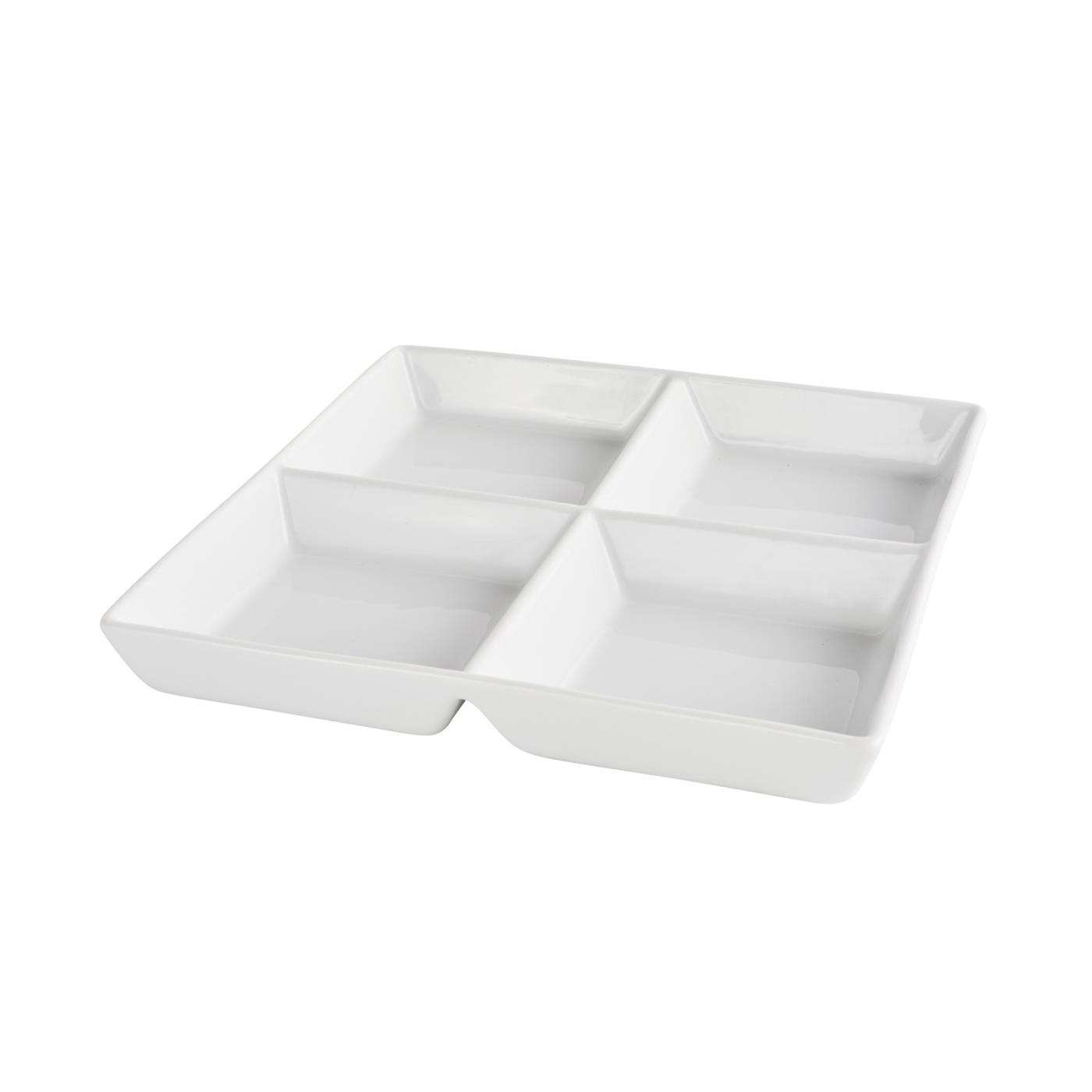 "Ceramic Square 4 Compartment Tasting Dish - 8"" With 4 Compartments"