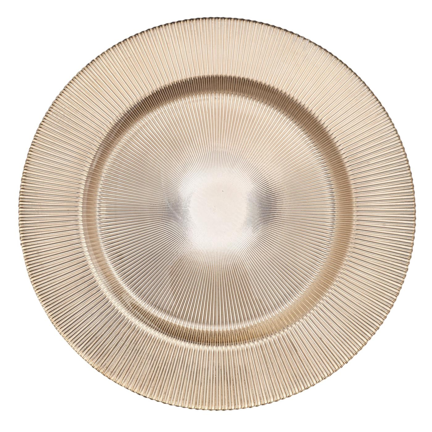 """Gold Fan Glass Charger - 13"""""""