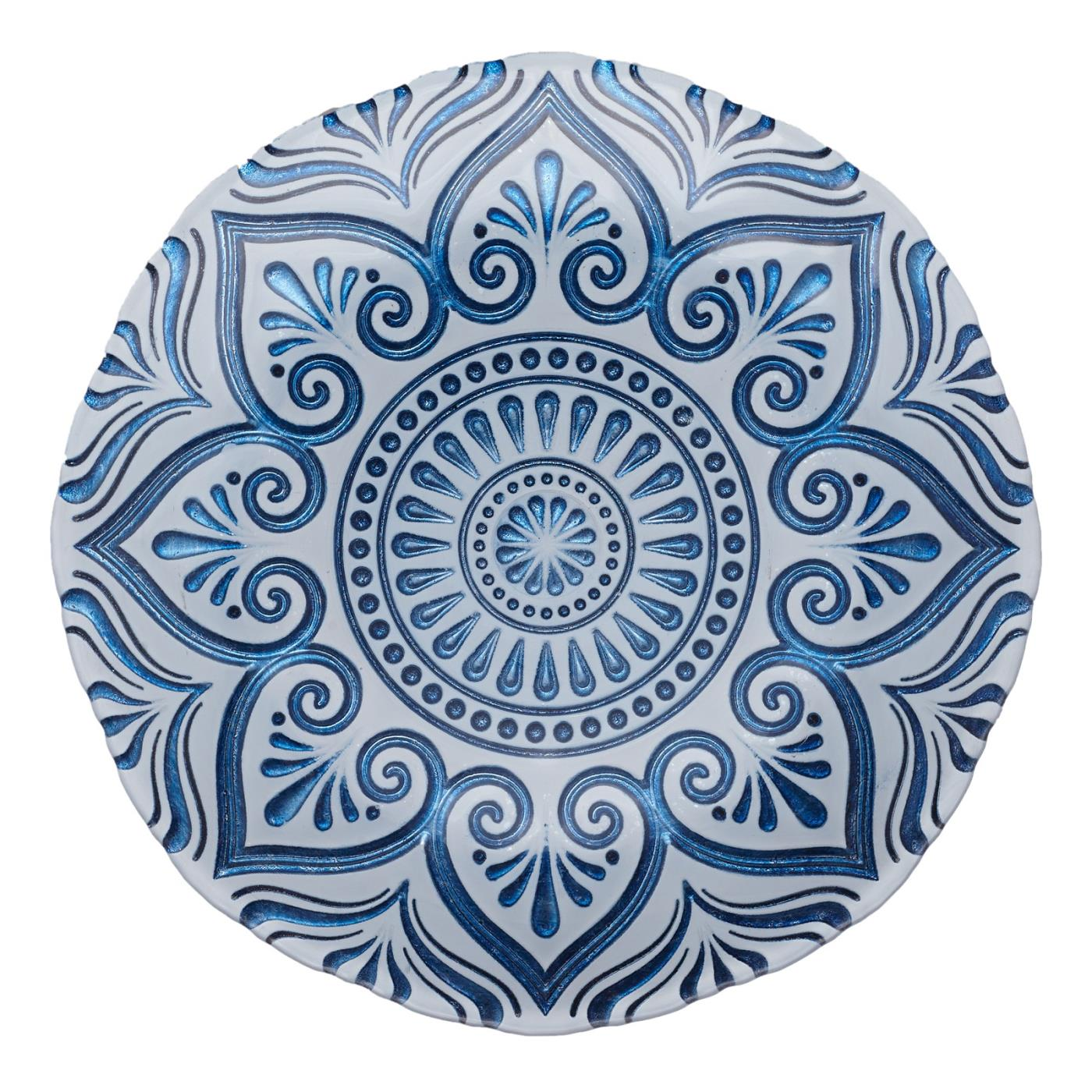 Blue Mandala Glass Charger - 11""