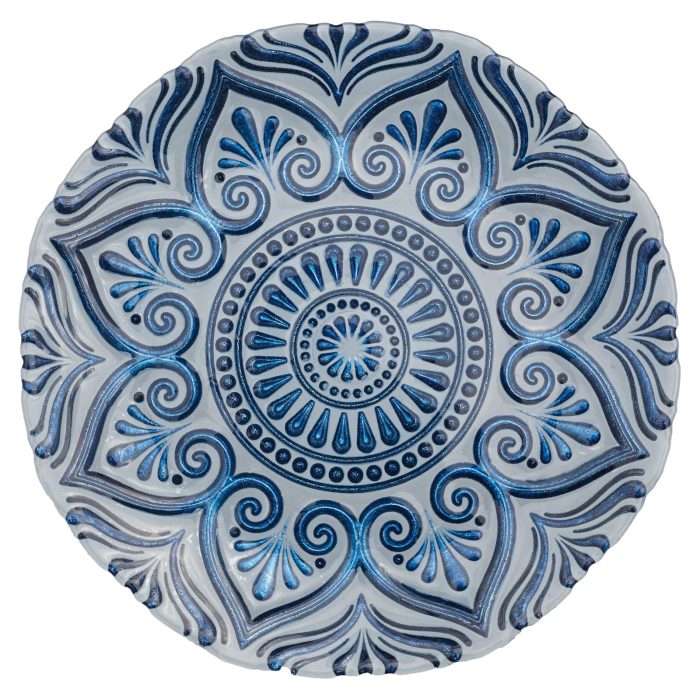 Blue Mandala Glass Charger - 13""
