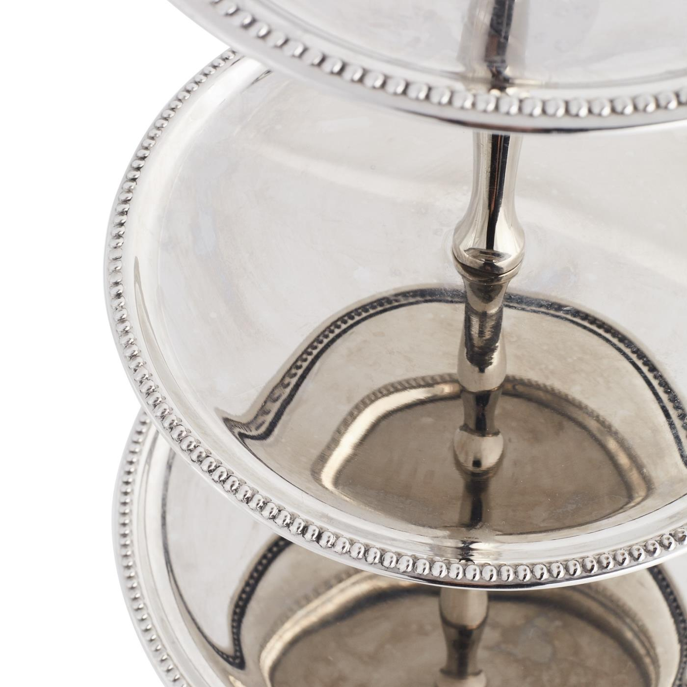 Silver Beaded 3-Tier Stand Detail