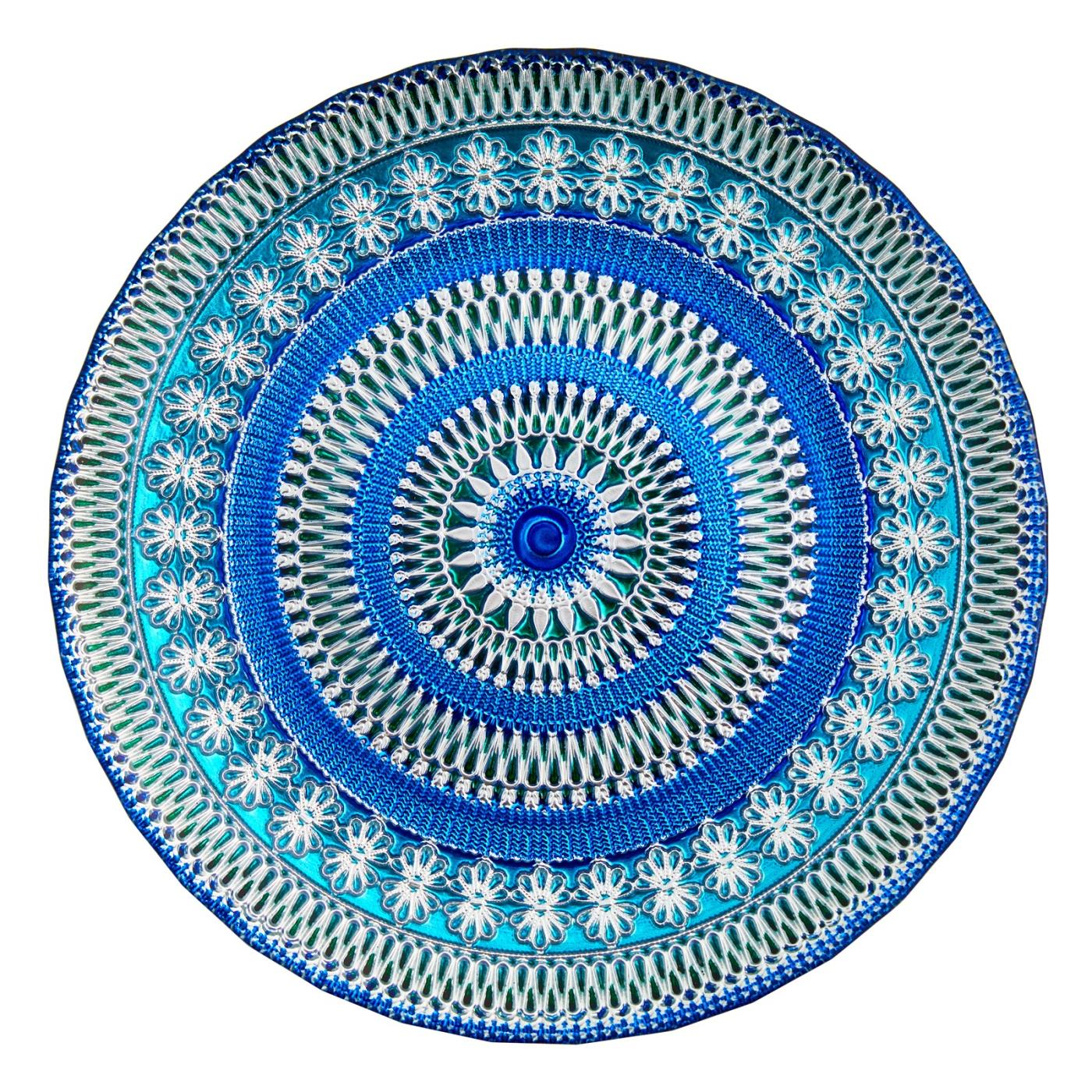 Blue Moore Glass Charger - Dinner Plate 10.75""
