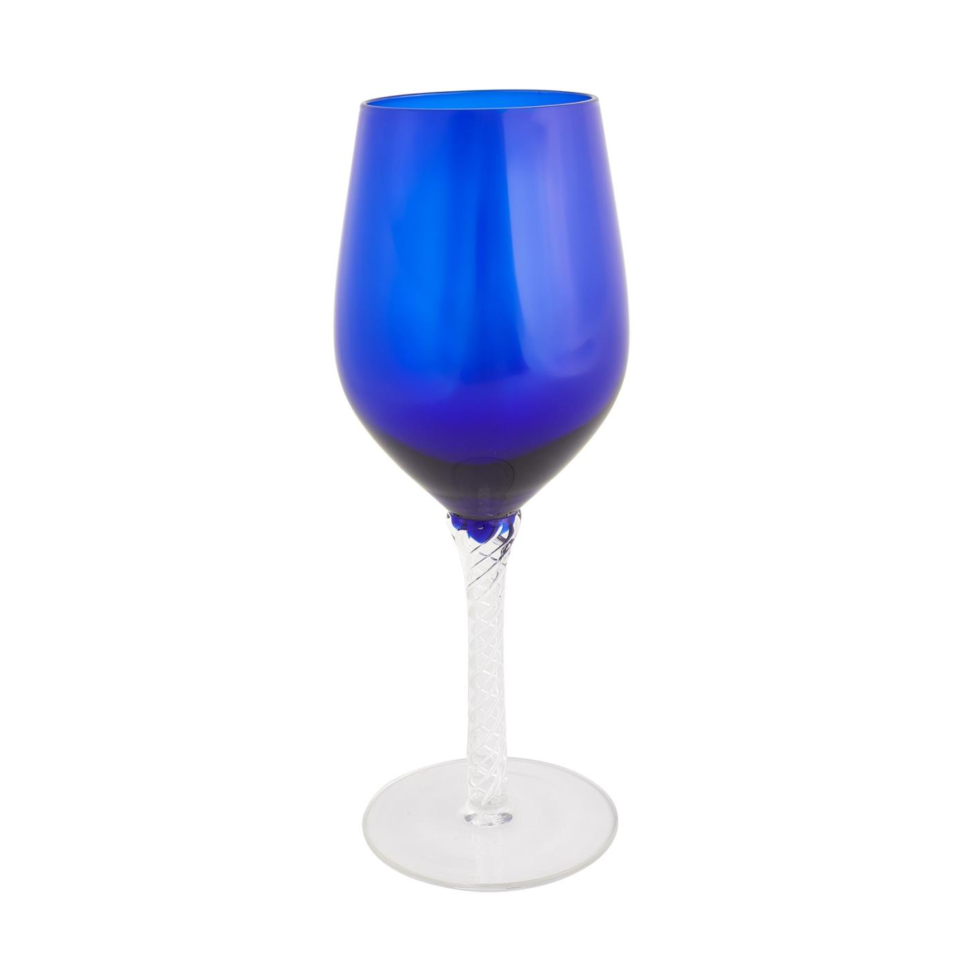 Blue Braided Wine Glass - Blue 14 oz