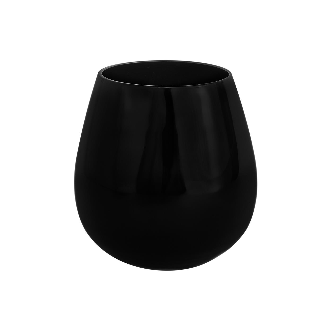 Stemless Black Glass