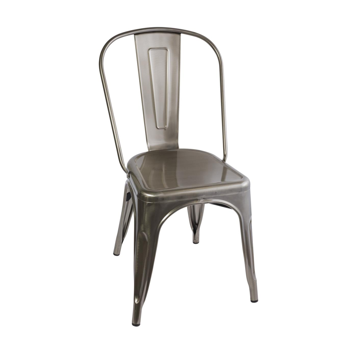 Silver Metal Stackable Chair