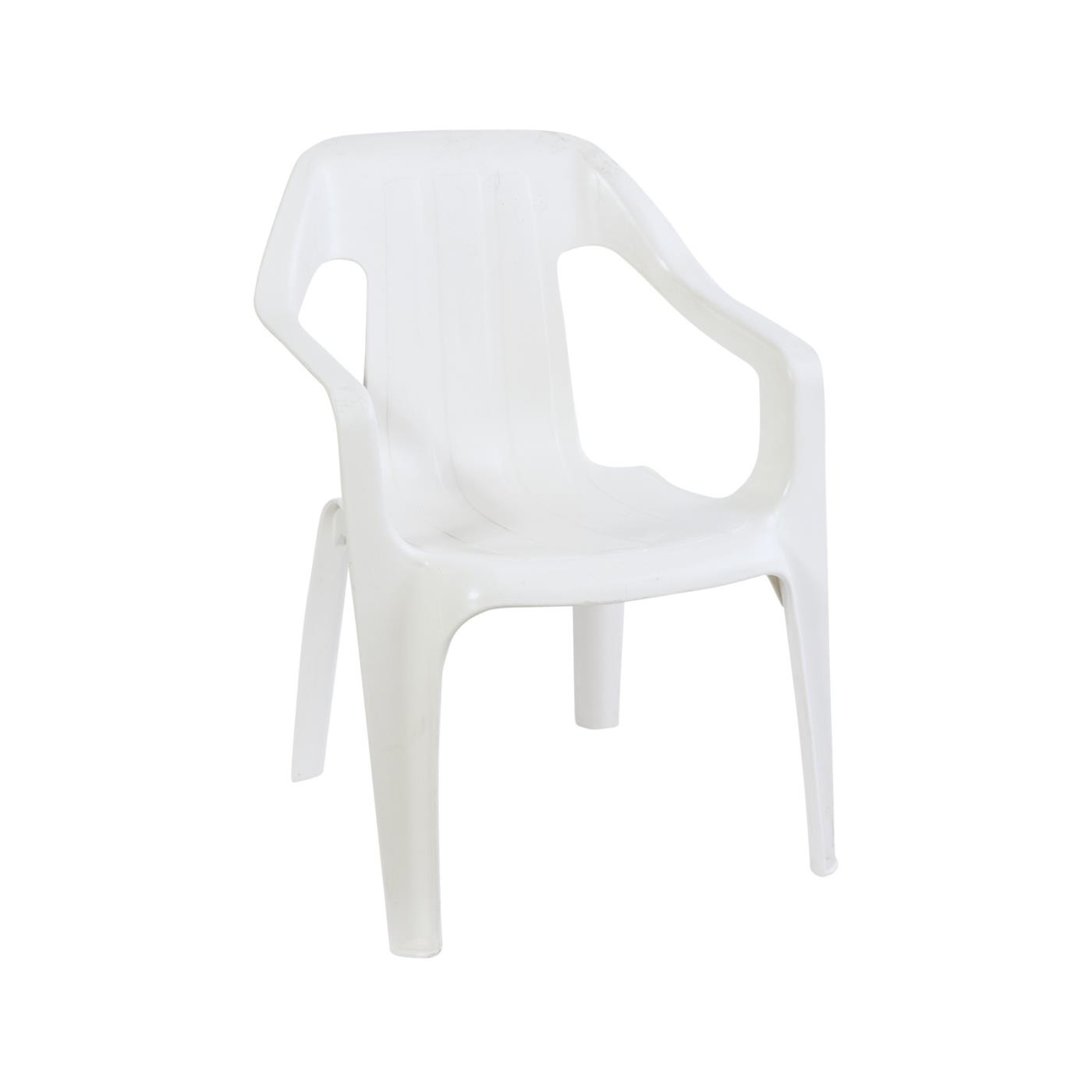 White Plastic Children's Chair with Arms