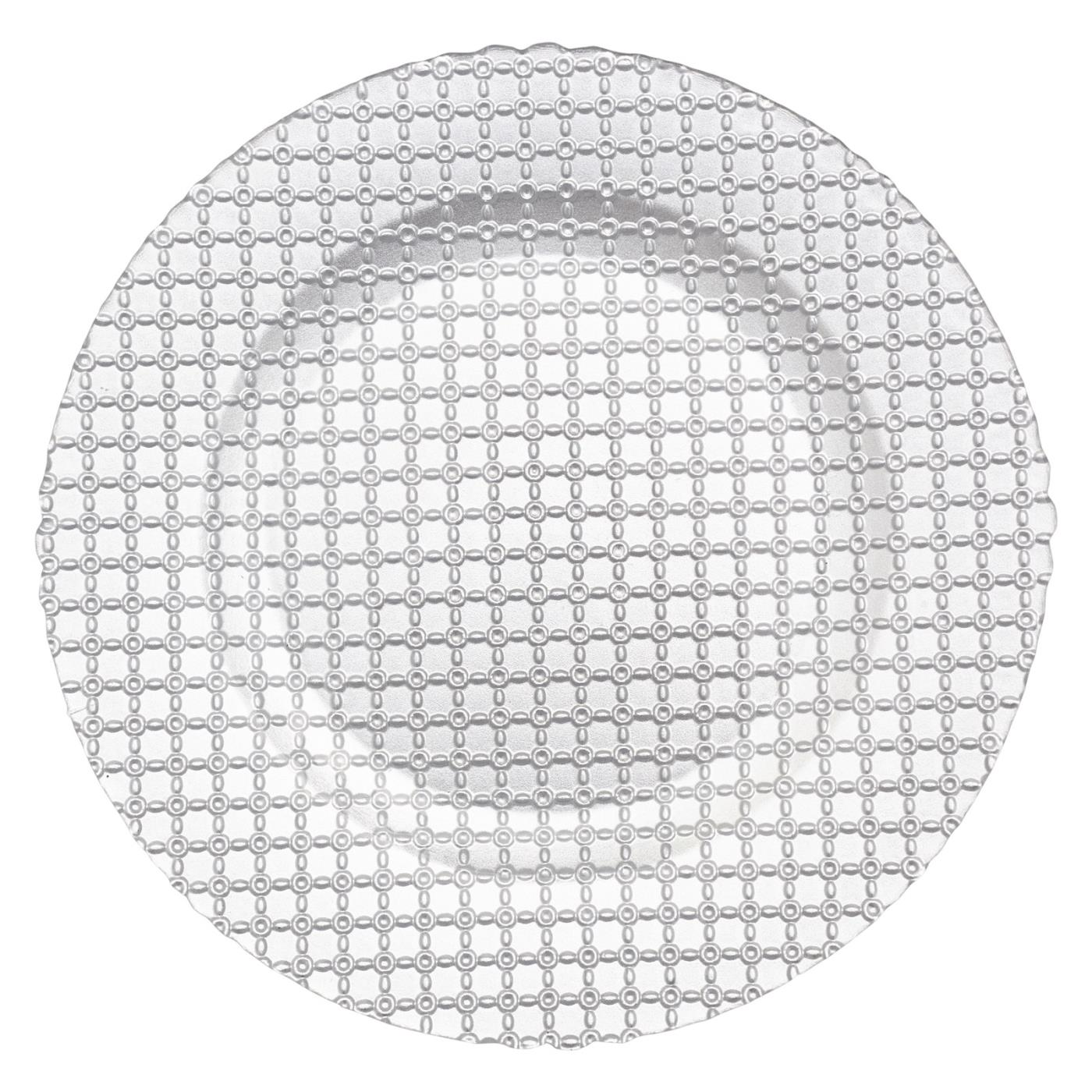 "Lattice Glass Charger 13"" - Silver"