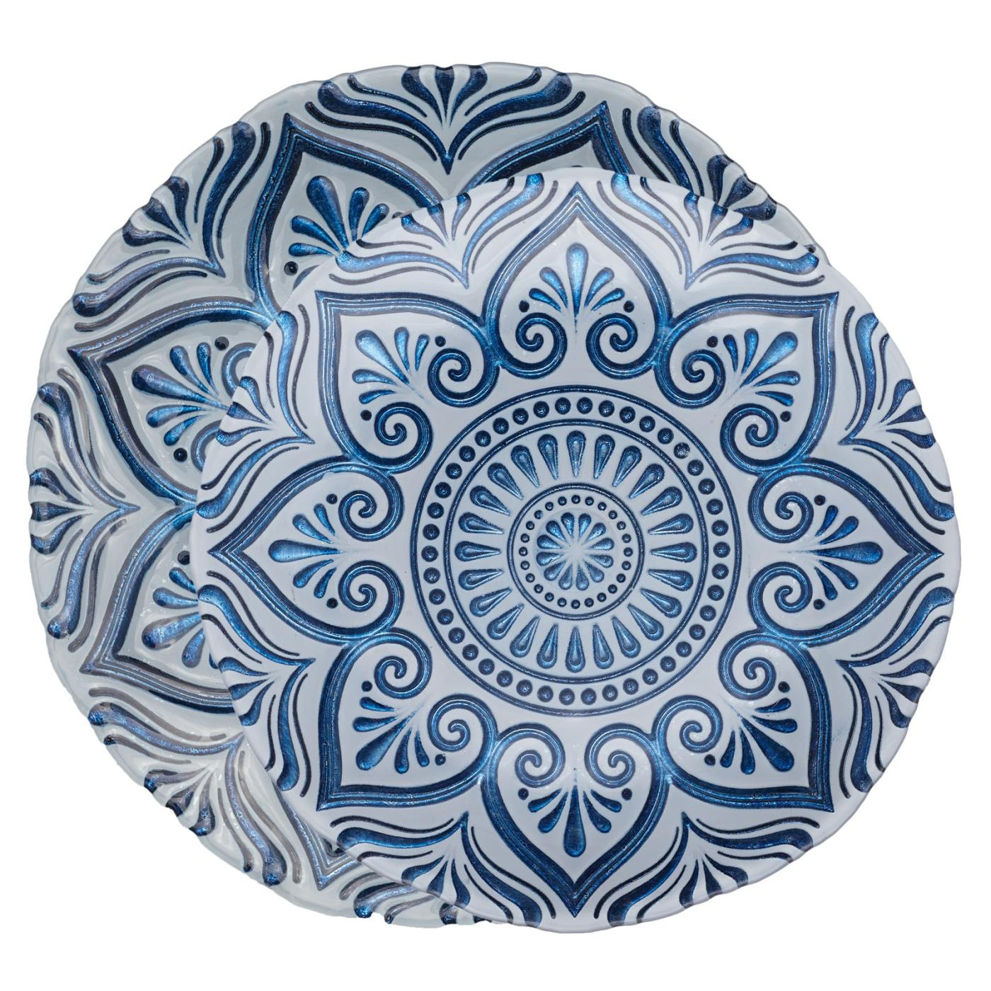 Blue Mandala Glass Charger