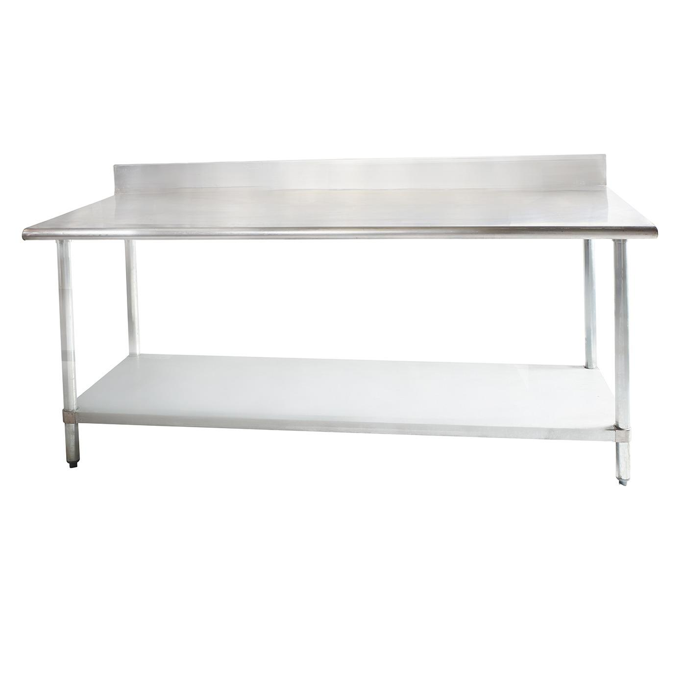 Rectangle Stainless Steel Table - Stainless Steel Work Table with Backsplash