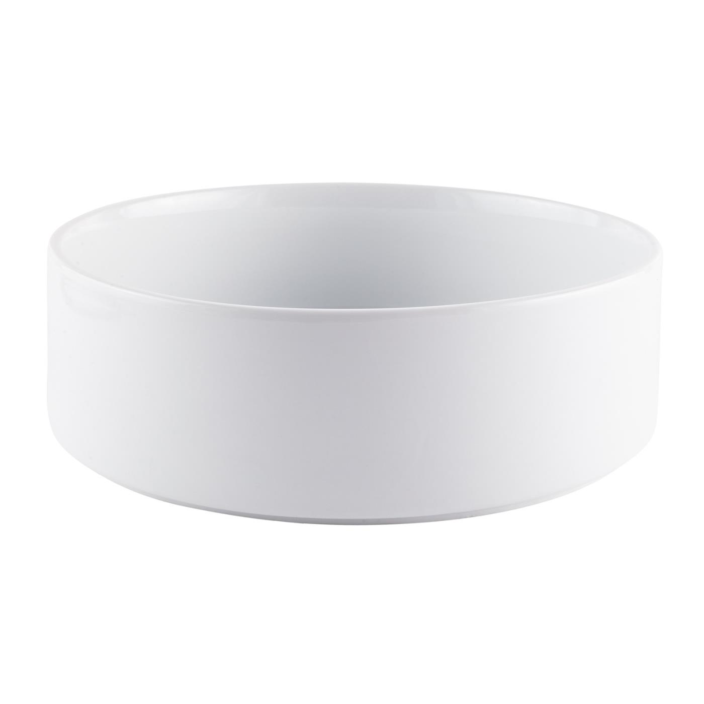 White Ceramic Straight Sided Bowl - 12""