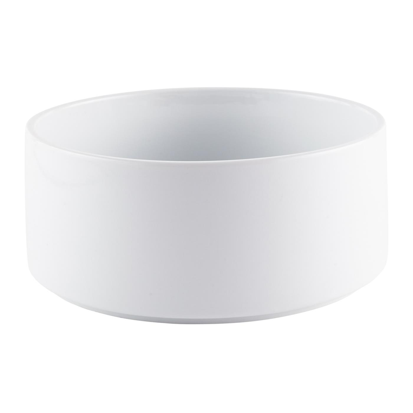 White Ceramic Straight Sided Bowl - 9""