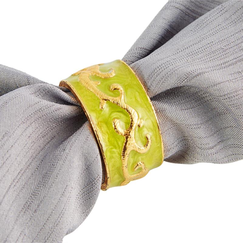 Napkin Ring - Green & Gold