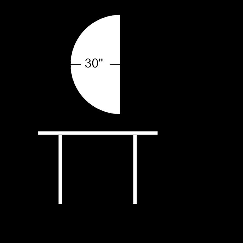 "Half Round Table - 60"" x 30""H"